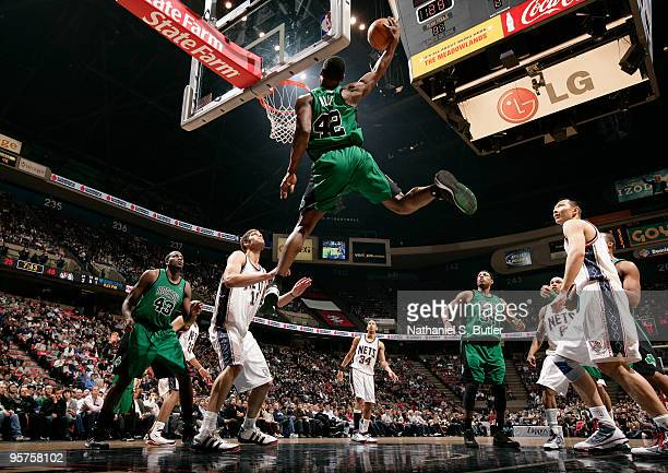 Tony Allen of the Boston Celtics shoots against Brook Lopez of the New Jersey Nets on January 13 2010 at the IZOD Center in East Rutherford New...