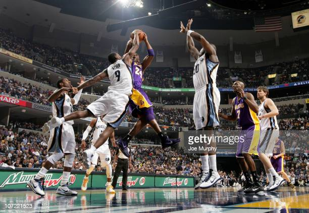 Tony Allen of the Memphis Grizzlies attempts to block a shot by Kobe Bryant of the Los Angeles Lakers on November 30, 2010 at FedExForum in Memphis,...