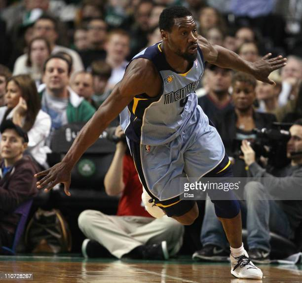 Tony Allen of the Memphis Grizzlies celebrates after he made a three point shot in the second half against the Boston Celtics on March 23, 2011 at...