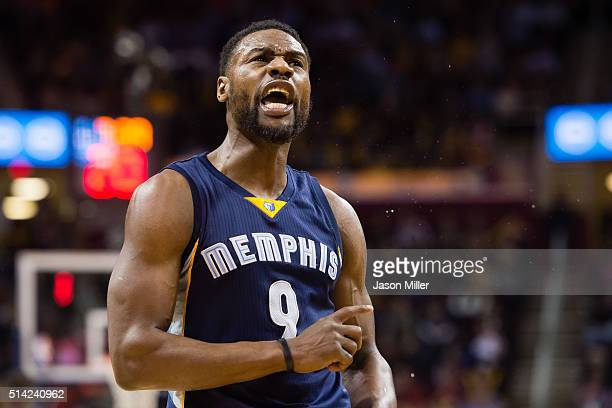 Tony Allen of the Memphis Grizzlies celebrates during the second half against the Cleveland Cavaliers at Quicken Loans Arena on March 7 2016 in...