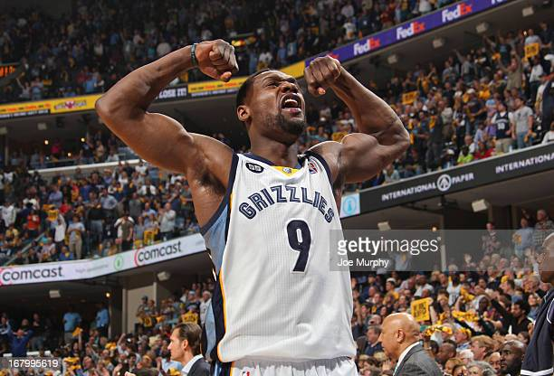 Tony Allen of the Memphis Grizzlies celebrates while playing the Los Angeles Clippers in Game Six of the Western Conference Quarterfinals during the...