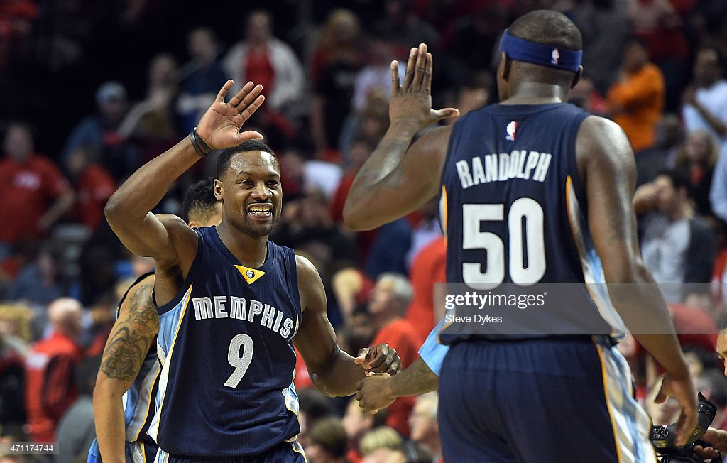 Tony Allen #9 of the Memphis Grizzlies clebrates with Zach Randolph #50 of the Memphis Grizzlies during the fourth quarter in Game Three of the Western Conference quarterfinals against the Portland Trail Blazers during the 2015 NBA Playoffs at the Moda Center on April 25, 2015 in Portland, Oregon.