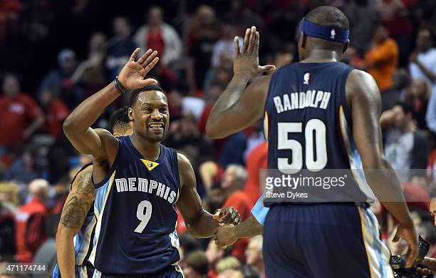 Tony Allen of the Memphis Grizzlies clebrates with Zach Randolph of the Memphis Grizzlies during the fourth quarter in Game Three of the Western...