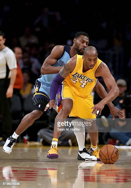 Tony Allen of the Memphis Grizzlies defends against Kobe Bryant of the Los Angeles Lakers during a game between the Los Angeles Lakers and Memphis...