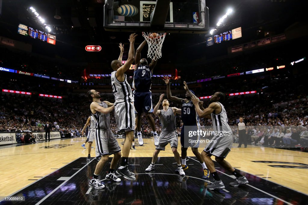 Tony Allen #9 of the Memphis Grizzlies drives for a shot attempt against the Tim Duncan #21 of the San Antonio Spurs during Game Two of the Western Conference Finals of the 2013 NBA Playoffs at AT&T Center on May 21, 2013 in San Antonio, Texas.