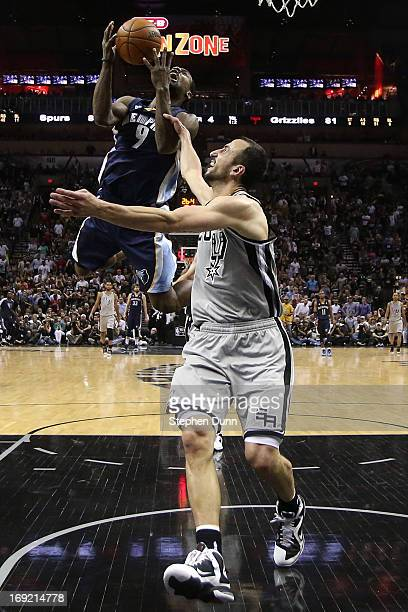 Tony Allen of the Memphis Grizzlies falls to the court after he drew a flagrant foul from Manu Ginobili of the San Antonio Spurs in the fourth...