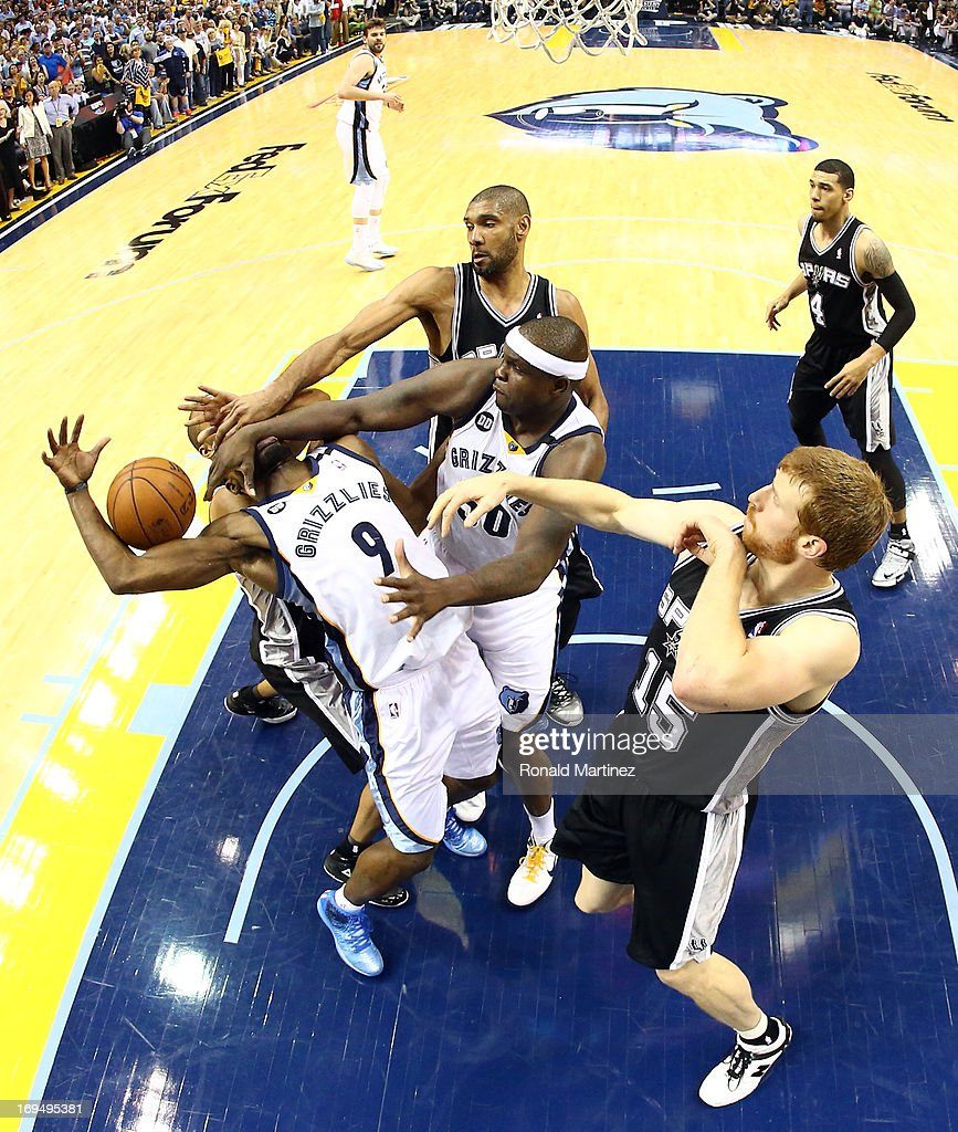 Tony Allen #9 of the Memphis Grizzlies is hit in the face by teammate Zach Randolph #50 against Tony Parker #9 of the San Antonio Spurs during Game Three of the Western Conference Finals of the 2013 NBA Playoffs at the FedExForum on May 25, 2013 in Memphis, Tennessee.