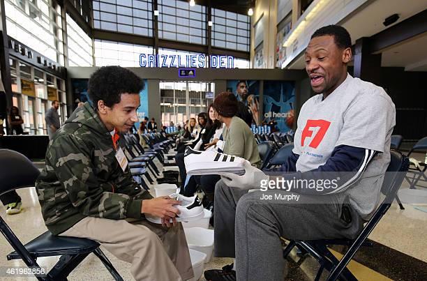 Tony Allen of the Memphis Grizzlies participates in a Samaritan's Feet event providing new adidas athletic shoes to 250 Memphisarea children on...