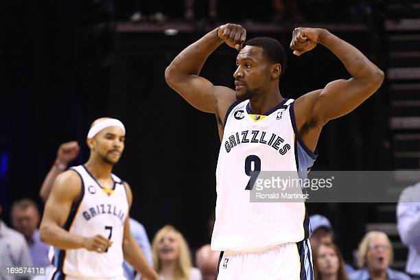 Tony Allen of the Memphis Grizzlies reacts in the second half while taking on the San Antonio Spurs during Game Four of the Western Conference Finals...