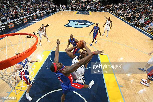 Tony Allen of the Memphis Grizzlies shoots against Ben Wallace of the Detroit Pistons on March 3 2012 at FedExForum in Memphis Tennessee NOTE TO USER...