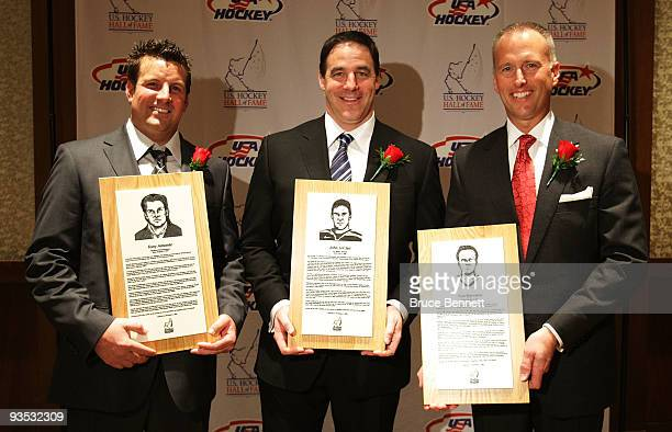 Tony Amonte John Leclair and Tom Barrasso pose during a photo opportunity prior to the US Hockey Hall of Fame Induction Ceremony at the Westin Boston...