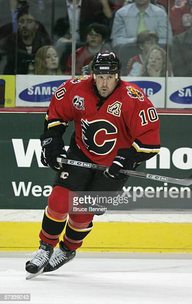 Tony Amonte of the Calgary Flames skates during the game against the Los Angeles Kings on March 29 2006 at the Pengrowth Saddledome in Calgary...