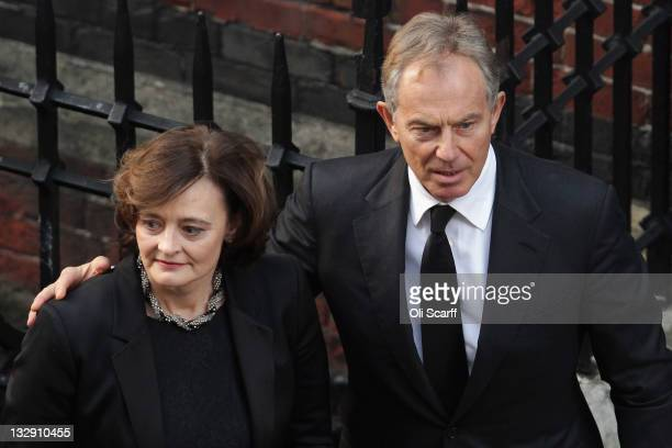 Tony and Cherie Blair arrive to attend the funeral of Philip Gould at All Saints church on November 15 2011 in London England Lord Philip Gould an...