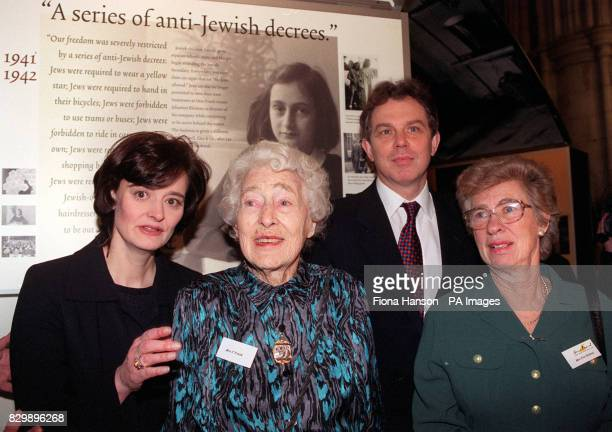 Tony and Cherie Blair at Southwark Cathedral with Fritzi Frank and her daughter Eva Schloss for the launch of a twoyear touring exhibition on the...