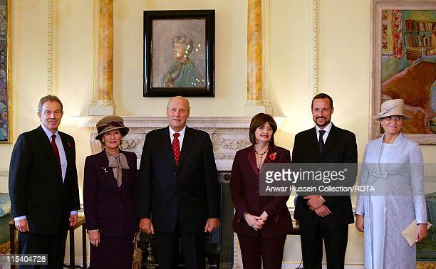 Tony and Cherie Blair welcome King Harald of Norway Queen Sonja Crown Prince Haakon and Crown Princess MetteMarit who is eight months pregnant at 10...