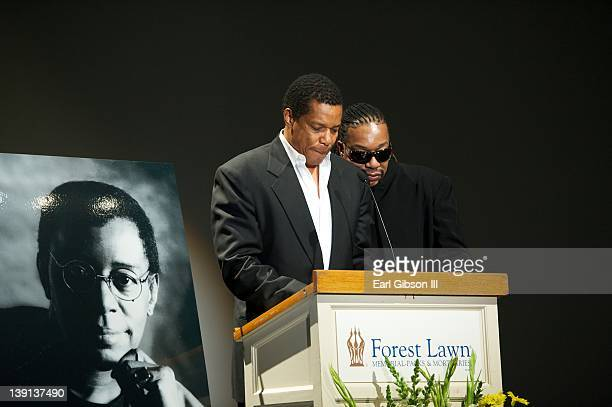Tony and Raymond Cornelius pay tribute to their father Don Cornelius at the Memorial Service on February 16 2012 in Los Angeles California