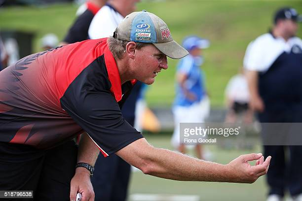 Tony Andrews of Canterbury competes in the singles final against Auckland's Scott Cottrell during the Bowls New Zealand Intercentre at Howick Bowling...