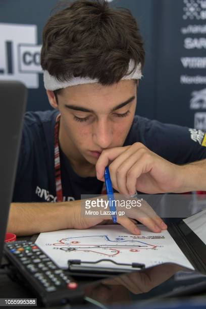Tony Arbolino of Italy and Marinelli Snipers Team reads in box during the MotoGP Of Malaysia Previews at Sepang Circuit on November 1 2018 in Kuala...