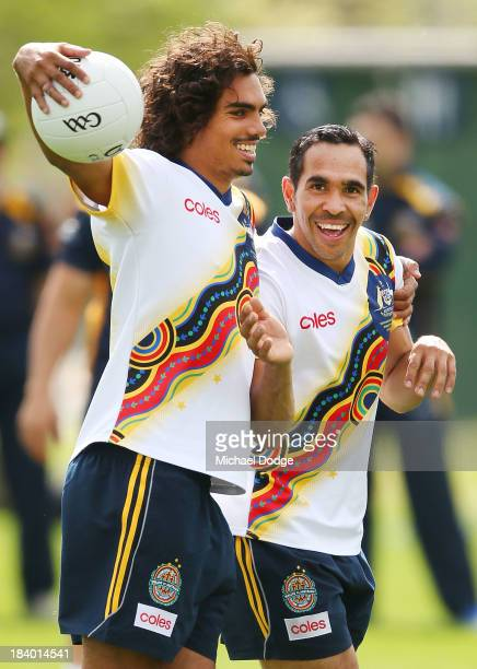 Tony Armstrong and Eddie Betts react during an Indigenous Australian International Rules Team training session at Gosch's Paddock on October 11, 2013...