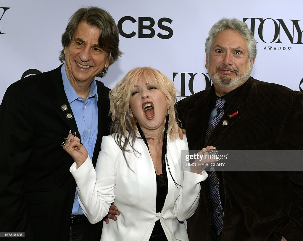 Tony Award nominees David Rockwell, Cyndi Lauper and Harvey Fierstein for 'Kinky Boots' pose on May 1, 2013 during a photo session for Tony Awards nominees on May 1, 2013. Lauper is nominated for Best Original Score (Music and/or Lyrics) Written for the Theater for 'Kinky Boots.'