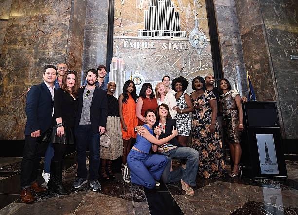 NY: 2016 Tony Nominees Light The Empire State Building In Honor Of The 70th Anniversary Of The Tony Awards