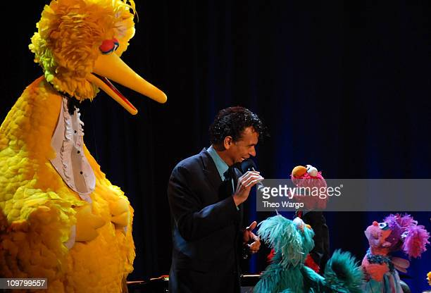 Tony Award Winner Brian Stokes Mitchell with Sesame Street's character's Big Bird Rosita Elmo and Abby Cadabby at Sesame Workshop's 5th Annual...
