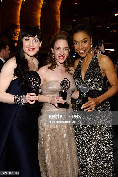 Tony award winners Lena Hall Jessie Mueller and Sophie Okonedo pose backstage at the 68th Annual Tony Awards at Radio City Music Hall on June 8 2014...