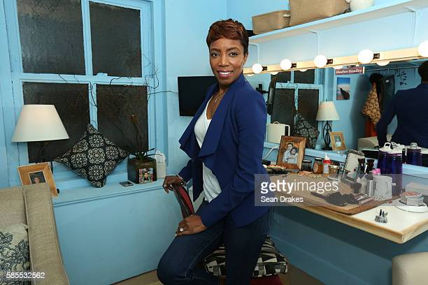 Tony Award winning actress and RB singer Heather Headley originally from Trinidad Tobago poses in her dressing room before her performance as Shug...