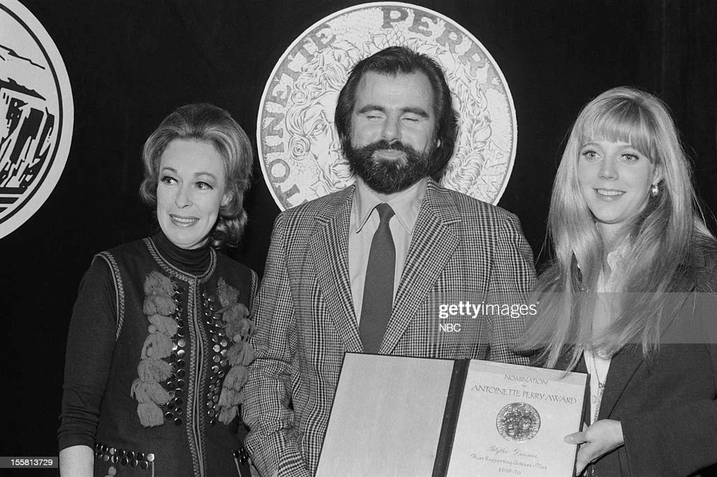 Tony Awards -- 'Nominee Reception' -- Pictured: (l-r) Featured Actress in a Play nominee Eileen Heckart, Best Director of a Play nominee Milton Katselas, Featured Actress in a play Nominee Blythe Danner during the nominee reception for the 24th Tony Awards in 1970 --