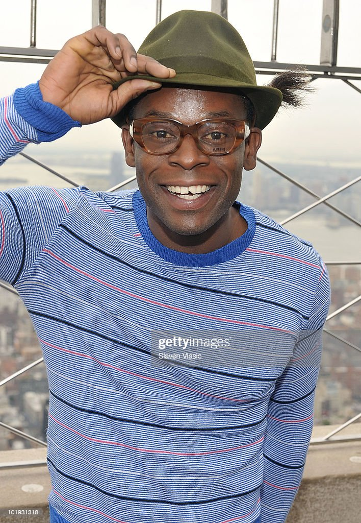 Tony Awards nominee Sahr Ngaujah visits The Empire State Building on June 9, 2010 in New York City.