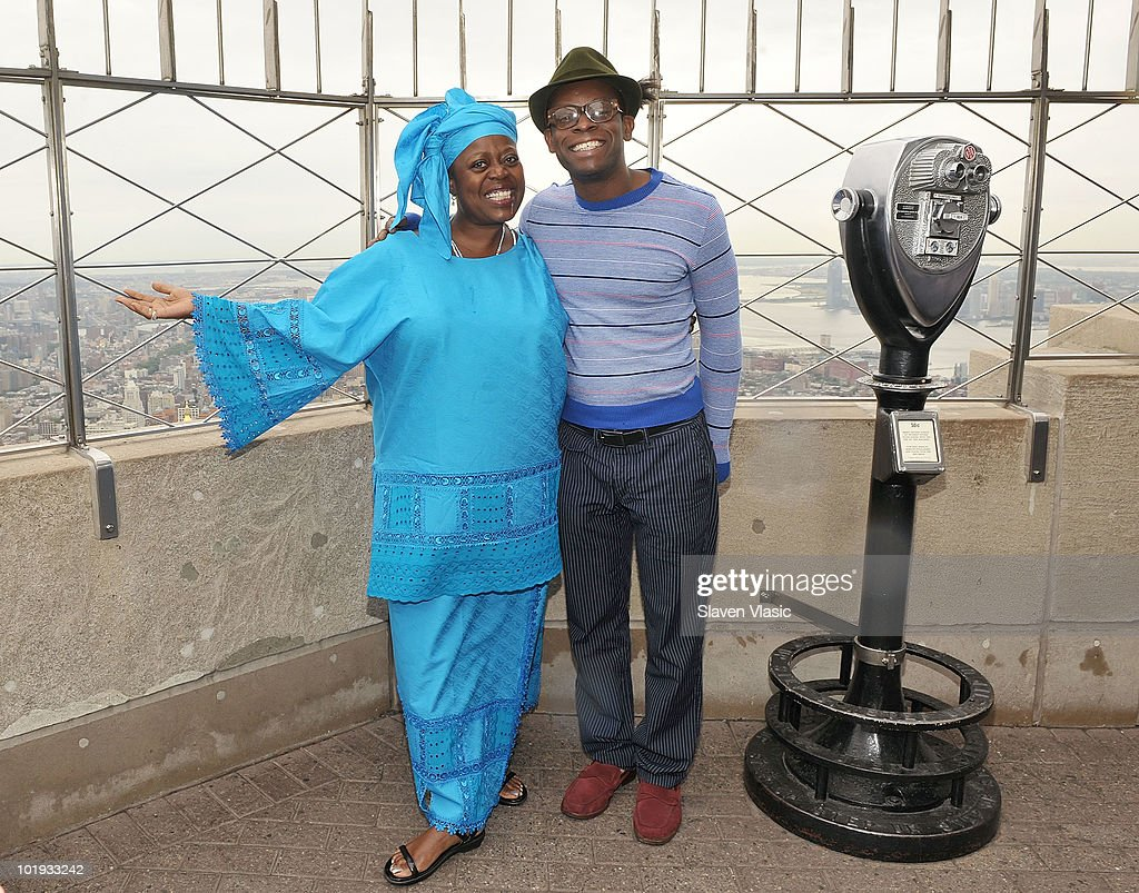 Tony Awards nominees Lillias White and Sahr Ngaujah visit The Empire State Building on June 9, 2010 in New York City.