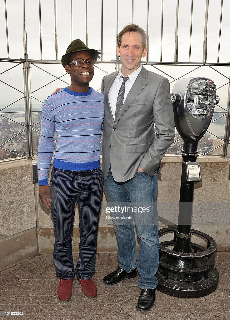 Tony Awards nominees Sahr Ngaujah and Stephen Kunken visit The Empire State Building on June 9, 2010 in New York City.