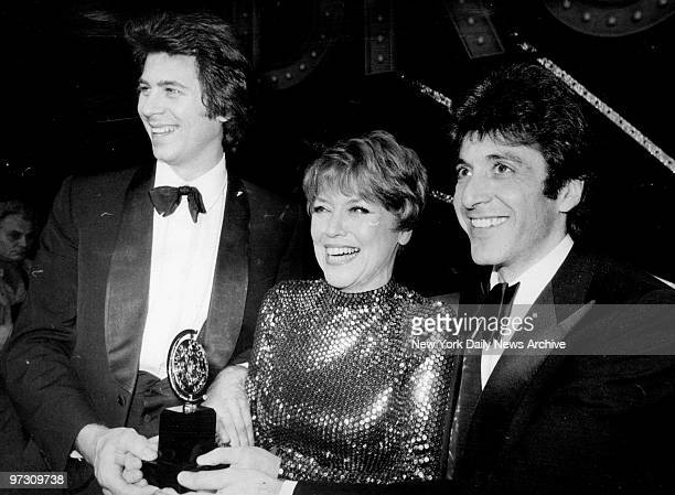 Tony Awards winners Barry Bostwick for 'The Robber Bridegroom' Dorothy Loudon for 'Annie' and Al Pacino for 'The Basic Training of Pavlo Hummel' at...