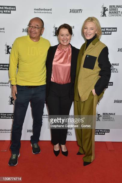 Tony Ayres Elise McCredie and Cate Blanchett pose at the Stateless photo call during the 70th Berlinale International Film Festival Berlin at Zoo...