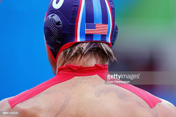 Tony Azevedo of United States prepares to take on France during Men's Preliminary Round Group B Match 18 United States vs France at the Maria Lenk...