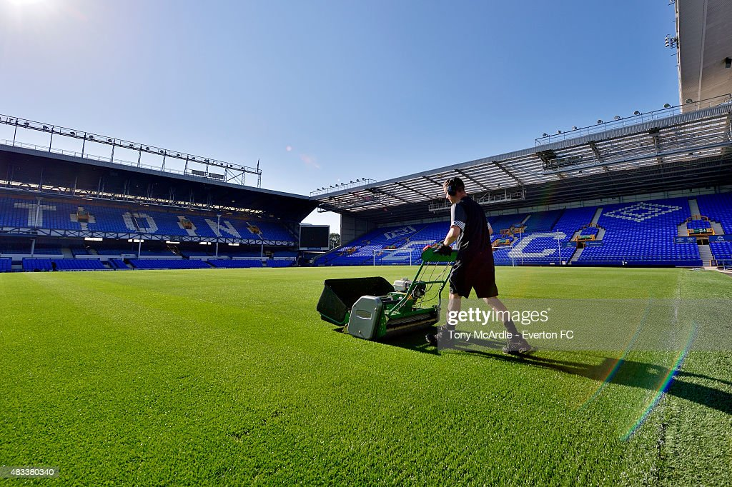 Tony Balshaw, Everton Groundsman, prepares the pitch before the Premier League match between Everton and Watford at Goodison Park on August 08, 2015 in Liverpool, England.