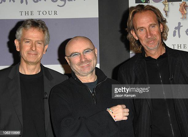 Tony Banks Phil Collins and Mike Rutherford during Genesis Announces Dates For Turn It On Again Tour March7 2007 at Providence Restauarant Bar in New...