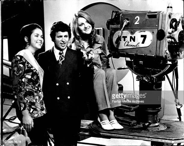 Tony Barber showing Miss Central West 19 yr old Nancy Bremner and Miss North Harbour 19 yr old Karen Collins over the set of Temptation All of the...