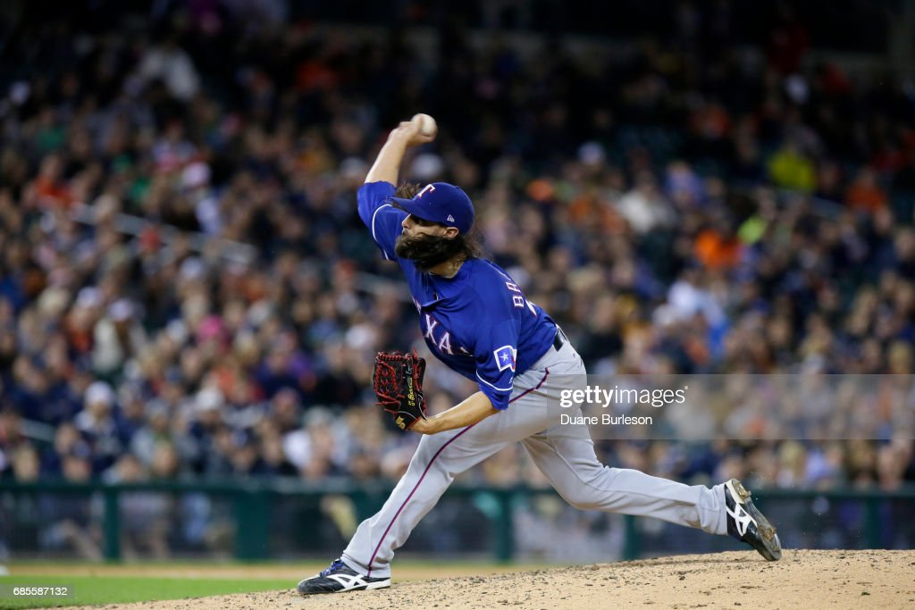 Tony Barnette #43 of the Texas Rangers pitches against the Detroit Tigers during the sixth inning at Comerica Park on May 19, 2017 in Detroit, Michigan. The Rangers defeated the Tigers 5-3.