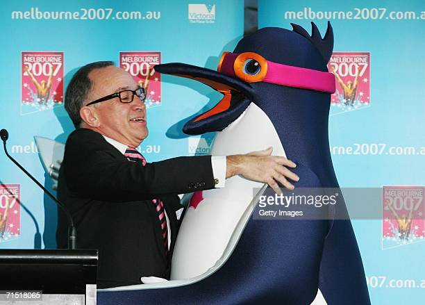 Tony Beddison AO Chairman of the 2007 World Swimming Championships Corporation meets the as yet unnamed Penguin mascot for the 12th FINA World...