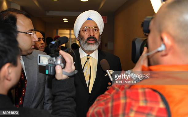 Tony Bedi a representative for winning bidder Vijay Mallya who owns Kingfisher beer talks to reporters prior to a controversial auction of Indian...