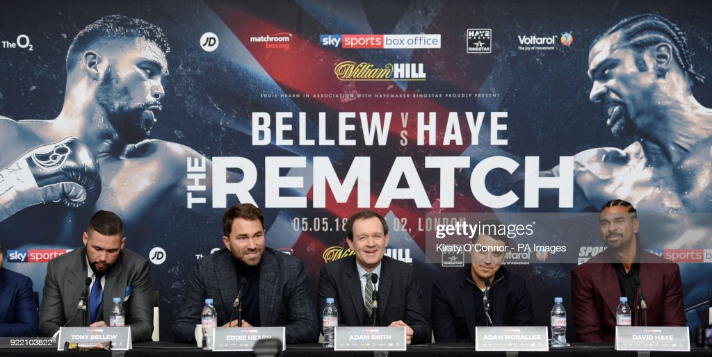Tony Bellew (left) and David Haye (right) during the press conference at Park Plaza Westminster Bridge, London.