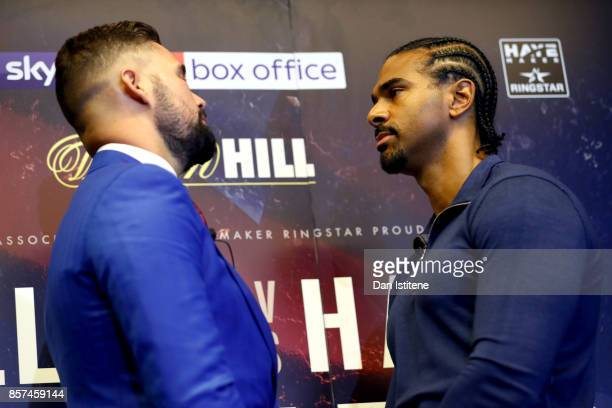 Tony Bellew and David Haye face up to each other during a press conference at the Park Plaza Hotel on October 4 2017 in London England Haye and...