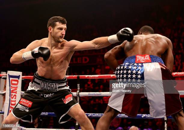 Tony Bellew connects with Roberto Bolonti during their WBC World Silver Light Heavyweight Championship Fight at Nottingham Capital FM Arena on...