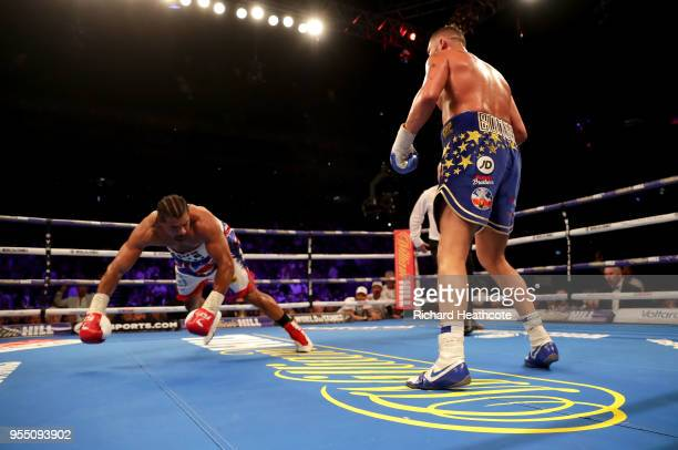 Tony Bellew knocks down David Haye during Heavyweight fight between Tony Bellew and David Haye at The O2 Arena on May 5, 2018 in London, England.