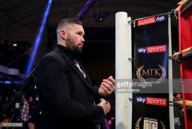 Tony Bellew, Manager of Jazza Dickens looks on from his corner prior to the MTK Global Golden Contract Featherweight Semi-Final fight between Leigh...