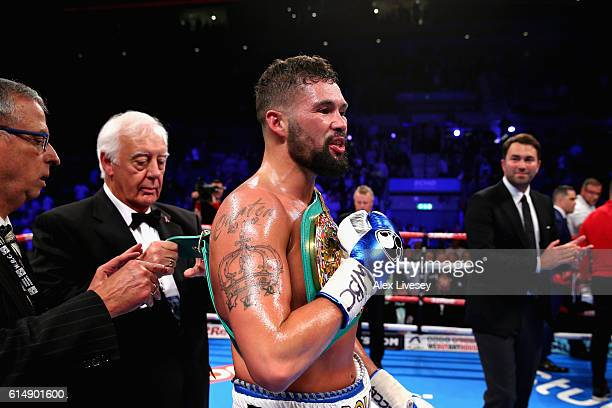 Tony Bellew of England celebrates after winning in the WBC Cruiserweight Championship match during Boxing at Echo Arena on October 15 2016 in...