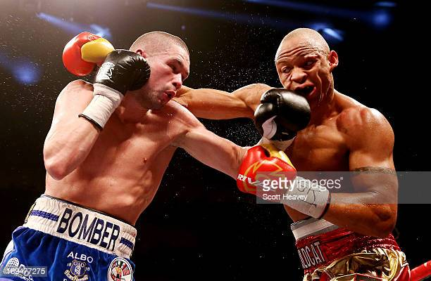 Tony Bellew of England connects with Isaac Chilemba of Malawi during their WBC Silver Light Heavyweight Championship and World Final Eliminator bout...