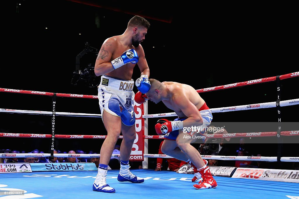 tony bellew of england lands a left hand punch on bj flores of usa