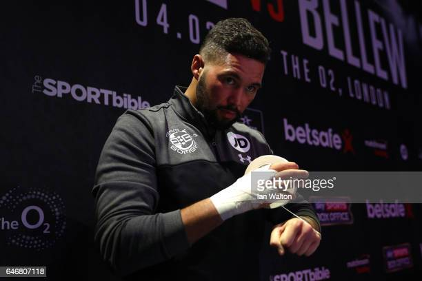 Tony Bellew of England tapes up as he attends the Media Work Out at The O2 Arena on March 1 2017 in London England